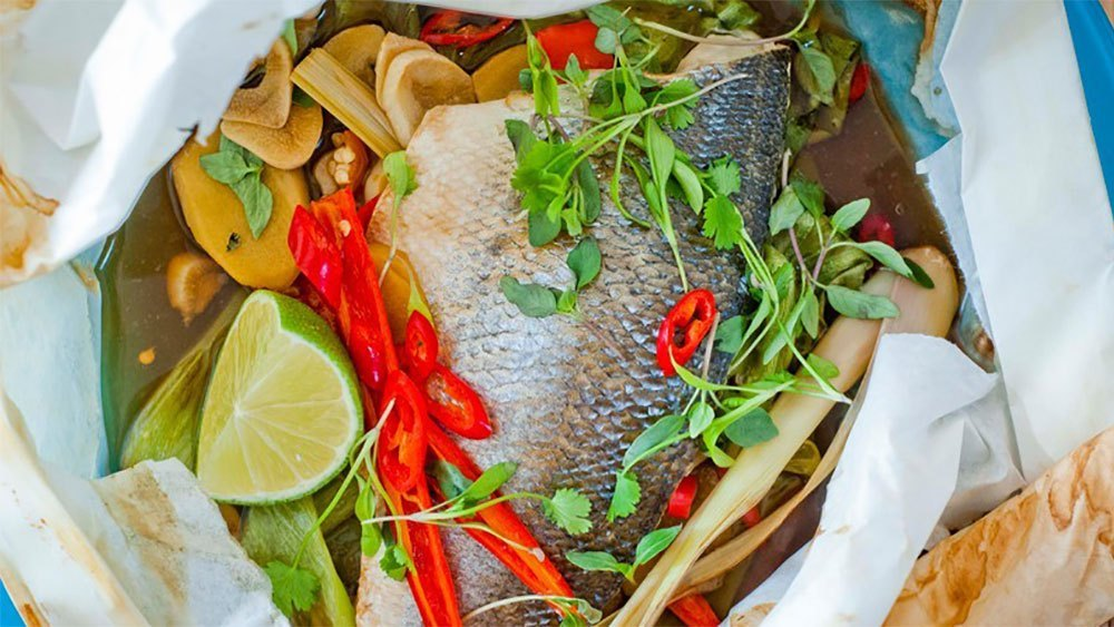 Thai Style Sea Bass En Papillote